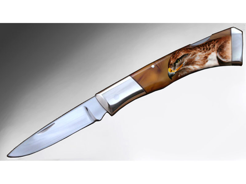 Decorazione su manico di coltello